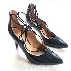 FRANCO SARTO Arya black leather lace-up heels